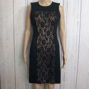🌻 NWT BCBGMAXAZRIA Black Lace Nude Lined Dress
